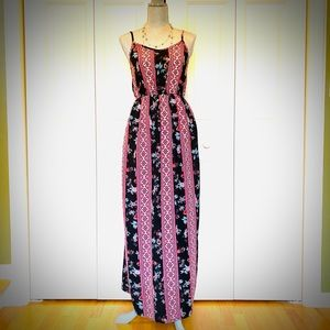 Colorful Maxi Dress with straps and elastic back